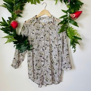 CAbi 5204 floral casual career blouse size small